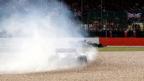 <p>               Alfa Romeo driver Antonio Giovinazzi of Italy steers his car out of the track during the British Formula One Grand Prix at the Silverstone racetrack, Silverstone, England, Sunday, July 14, 2019. (AP Photo/Luca Bruno)             </p>