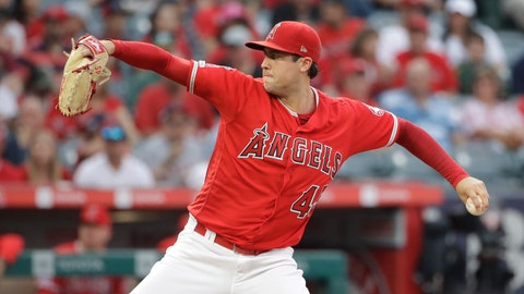<p>               Los Angeles Angels starting pitcher Tyler Skaggs throws to the Oakland Athletics during the first inning of a baseball game Saturday, June 29, 2019, in Anaheim, Calif. (AP Photo/Marcio Jose Sanchez)             </p>