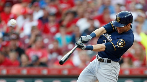 <p>               FILE - In this July 2, 2019, file photo, Milwaukee Brewers' Christian Yelich hits a solo home run off Cincinnati Reds starting pitcher Tanner Roark during the fourth inning of a baseball game in Cincinnati. Josh Bell and Yelich are among eight competitors in this year's All-Star Game Home Run Derby, which is handing out a $1 million prize to the winner. (AP Photo/Gary Landers, File)             </p>