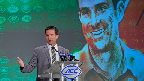 <p>               Miami head coach Manny Diaz speaks during the Atlantic Coast Conference NCAA college football media days in Charlotte, N.C., Thursday, July 18, 2019. (AP Photo/Chuck Burton)             </p>