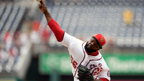 <p>               Washington Nationals relief pitcher Fernando Rodney delivers a pitch during the ninth inning of a baseball game against the Miami Marlins, Thursday, July 4, 2019, in Washington. The Nationals won 5-2.(AP Photo/Nick Wass)             </p>
