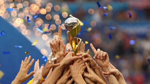<p>               The United States players hold the trophy celebrating at the end of the Women's World Cup final soccer match between US and The Netherlands at the Stade de Lyon in Decines, outside Lyon, France, Sunday, July 7, 2019. The US defeated the Netherlands 2-0. (AP Photo/Francisco Seco)             </p>