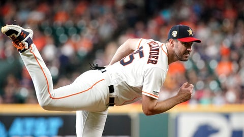<p>               Houston Astros starting pitcher Justin Verlander throws against the Los Angeles Angels during the first inning of a baseball game Friday, July 5, 2019, in Houston. (AP Photo/David J. Phillip)             </p>