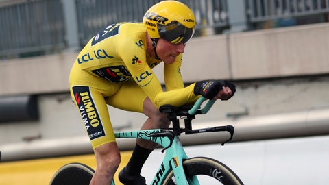 <p>               Netherlands' Mike Teunissen of the Team Jumbo Visma strains during the second stage of the Tour de France cycling race, a team time trial over 27.6 kilometers (17 miles) with start and finish in Brussels, Belgium, Sunday, July 7, 2019. (AP Photo/Thibault Camus)             </p>