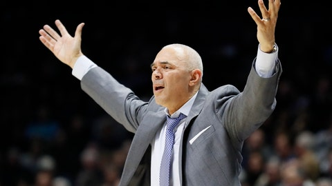 <p>               FILE - In this Feb. 9, 2019, file photo, DePaul head coach Dave Leitao reacts during the second half of an NCAA college basketball game, in Cincinnati. The NCAA suspended men's basketball coach Dave Leitao for the first three games of the regular season Tuesday, July 23, 2019, saying he should have done more to prevent recruiting violations by his staff. The NCAA also put the Big East program on three years of probation, issued a $5,000 fine and said an undetermined number of games will be vacated because DePaul put an ineligible player on the floor. An unidentified former associate head coach is also facing a three-year show cause order for his role in the violations.(AP Photo/John Minchillo, File)             </p>