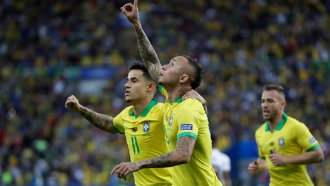 <p>               Brazil's Everton celebrates scoring his side's first goal against Peru during the final soccer match of the Copa America at Maracana stadium in Rio de Janeiro, Brazil, Sunday, July 7, 2019. (AP Photo/Andre Penner)             </p>