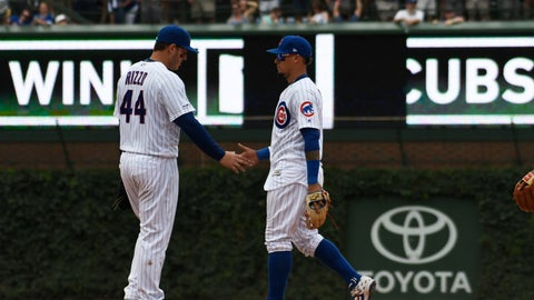 <p>               Chicago Cubs first baseman Anthony Rizzo (44) and shortstop Javier Baez celebrate their win over the San Diego Padres in a baseball game, Friday, July,19, 2019, in Chicago. (AP Photo/David Banks)             </p>