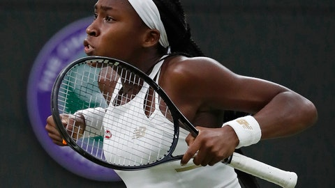 """<p>               United States' Cori """"Coco"""" Gauff celebrates after beating Slovakia's Magdalena Rybaikova in a Women's singles match during day three of the Wimbledon Tennis Championships in London, Wednesday, July 3, 2019. (AP Photo/Alastair Grant)             </p>"""