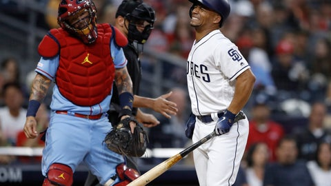 <p>               San Diego Padres' Francisco Mejia, right, reacts after getting hit by a pitch as St. Louis Cardinals catcher Yadier Molina, left, watches during the second inning of a baseball game Saturday, June 29, 2019, in San Diego. (AP Photo/Gregory Bull)             </p>