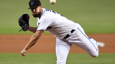 <p>               Miami Marlins' Caleb Smith pitches in the first inning of a baseball game against the San Diego Padres, Thursday, July 18, 2019, in Miami. (AP Photo/Jim Rassol)             </p>