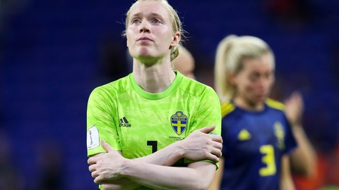 <p>               Sweden goalkeeper Hedvig Lindahl reacts after losing the Women's World Cup semifinal soccer match against the Netherlands, at the Stade de Lyon outside Lyon, France, Wednesday, July 3, 2019. (AP Photo/Francisco Seco)             </p>