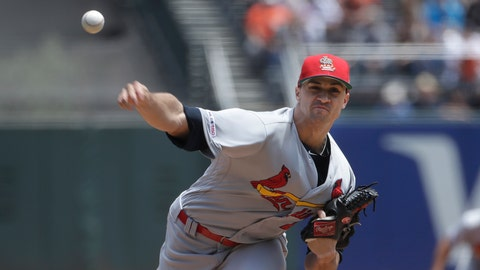 <p>               St. Louis Cardinals pitcher Jack Flaherty throws to a San Francisco Giants batter during the first inning of a baseball game in San Francisco, Sunday, July 7, 2019. (AP Photo/Jeff Chiu)             </p>