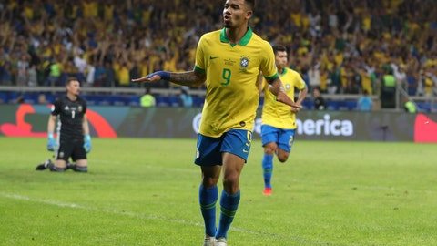 <p>               Brazil's Gabriel Jesus celebrates his side's 2nd goal scored by teammate Roberto Firmino, back, during a Copa America semifinal soccer match against Argentina at the Mineirao stadium in Belo Horizonte, Brazil, Tuesday, July 2, 2019. (AP Photo/Ricardo Mazalan)             </p>