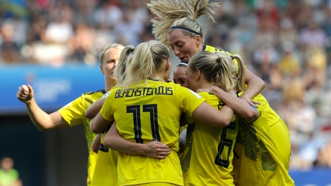 <p>               Sweden players celebrate after Sweden's Kosovare Asllani scored her side's opening goal during the Women's World Cup third place soccer match between England and Sweden at Stade de Nice, in Nice, France, Saturday, July 6, 2019. (AP Photo/Claude Paris)             </p>