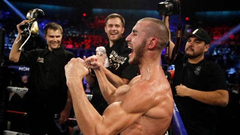 <p>               FILE - In this Saturday, Oct. 20, 2018 file photo, Maxim Dadashev celebrates after defeating Antonio DeMarco during a junior welterweight bout in Las Vegas. On Saturday, July 20, 2019, doctors said Dadashev had surgery at a Maryland hospital for swelling on his brain after collapsing outside the ring after losing a match. (AP Photo/John Locher)             </p>