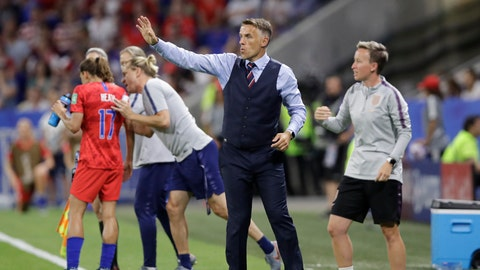 <p>               England head coach Philip Neville gestures during the Women's World Cup semifinal soccer match between England and the United States, at the Stade de Lyon, outside Lyon, France, Tuesday, July 2, 2019. (AP Photo/Alessandra Tarantino)             </p>