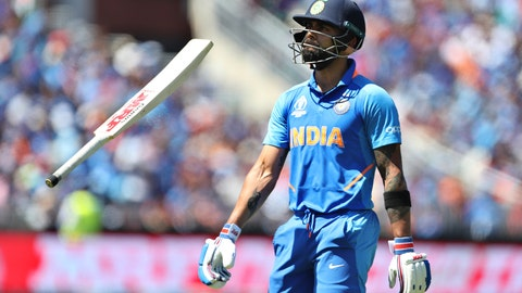<p>               India's captain Virat Kohli tosses his bat in air after being dismissed by West Indies' captain Jason Holder during the Cricket World Cup match between India and West Indies at Old Trafford in Manchester, England, Thursday, June 27, 2019. (AP Photo/Aijaz Rahi)             </p>