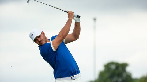 <p>               Brooks Koepka tees off on the fourth hole during the first round of the 3M Open golf tournament in Blaine, Minn., Thursday, July 4, 2019. (Alex Kormann/Star Tribune via AP)             </p>