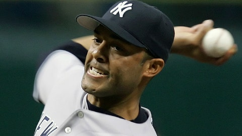 <p>               FILE - In this Sept. 25, 2006, file photo, New York Yankees pitcher Mariano Rivera throws a seventh inning pitch against the Tampa Bay Devil Rays during a baseball game in St. Petersburg, Fla. Rivera will be inducted into the Baseball Hall of Fame on Sunday, July 21, 2019. (AP Photo/Chris O'Meara, File)             </p>