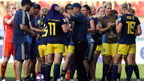 <p>               Sweden coach Peter Gerhardsson, middle, talks to players as they take a drinks brake during the of the Women's World Cup quarterfinal soccer match between Germany and Sweden at Roazhon Park in Rennes, France, Saturday, June 29, 2019. (AP Photo/David Vincent)             </p>
