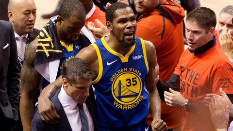 <p>               FILE - In this June 10, 2019, file photo, Golden State Warriors forward Kevin Durant (35) reacts as he leaves the court after sustaining an injury during first-half basketball action against the Toronto Raptors in Game 5 of the NBA Finals in Toronto. Durant is headed to the Brooklyn Nets, leaving the Warriors after three seasons. His decision was announced Sunday, June 30, 2019, at the start of the NBA free agency period on the Instagram page for The Boardroom, an online series looking at sports business produced by Durant and business partner Rich Kleiman. (Chris Young/The Canadian Press via AP, File)             </p>