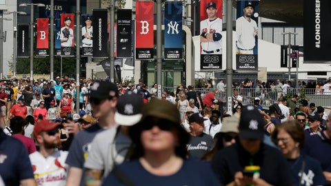<p>               FILE - In this June 29, 2019, file photo, fans arrive before a baseball game between the Boston Red Sox and the New York Yankees, in London. Major League Baseball is trying to muscle in on a crowded marketplace in Britain dominated by soccer but also filled with cricket, rugby _ and this month Wimbledon. (AP Photo/Tim Ireland, File)             </p>