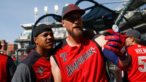 <p>               Marcus Stroman, of the Toronto Blue Jays, and Hunter Pence, of the Texas Rangers, pose for a photo as the American League players take batting practice before the MLB baseball All-Star Game, Tuesday, July 9, 2019, in Cleveland. (AP Photo/John Minchillo)             </p>