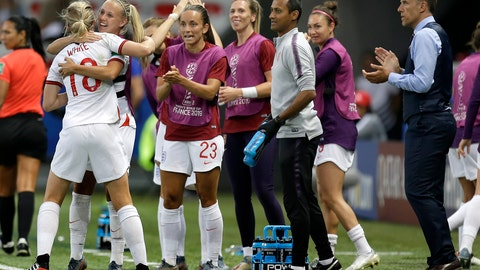 <p>               England head coach Philip Neville, right, applaudes as England's scorer Ellen White, left, and her teammates celebrate the opening goal during the Women's World Cup Group D soccer match between Japan and England at the Stade de Nice in Nice, France, Wednesday, June 19, 2019. (AP Photo/Claude Paris)             </p>