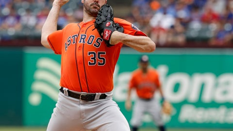 <p>               Houston Astros starting pitcher Justin Verlander throws against the Texas Rangers in the first inning  of a baseball game against the Texas Rangers, Sunday, July 14, 2019, in Arlington, Texas. (AP Photo/David Kent)             </p>