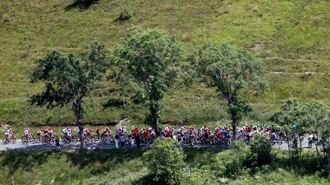 <p>               The pack rides during the twelfth stage of the Tour de France cycling race over 209,5 kilometers (130 miles) with start in Toulouse and finish in Bagneres-de-Bigorre, France, Thursday, July 18, 2019. (AP Photo/ Christophe Ena)             </p>