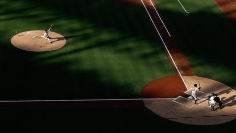 <p>               San Diego Padres starting pitcher Joey Lucchesi, left, throws as Atlanta Braves' Ronald Acuna Jr. bats during the first inning of a baseball game Saturday, July 13, 2019, in San Diego. (AP Photo/Gregory Bull)             </p>