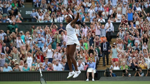 """<p>               United States' Cori """"Coco"""" Gauff celebrates after beating Slovenia's Polona Hercog in a Women's singles match during day five of the Wimbledon Tennis Championships in London, Friday, July 5, 2019. (AP Photo/Ben Curtis)             </p>"""