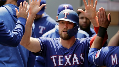 <p>               FILE - In this May 29, 2019, file photo, Texas Rangers' Hunter Pence is greeted in the dugout after he scored on an RBI single hit by Asdrubal Cabrera during the first inning of a baseball game in Seattle. Pence was being wished well in retirement last year.  Next week, he'll be at the All-Star Game representing the Rangers. (AP Photo/Ted S. Warren, File)             </p>