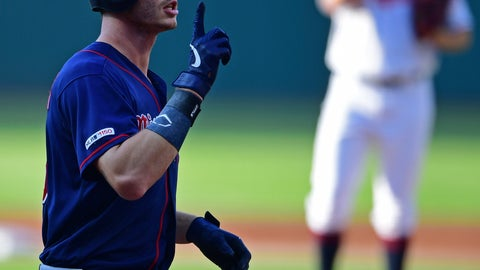 <p>               Minnesota Twins' Max Kepler celebrates after hitting a solo home run off Cleveland Indians starting pitcher Trevor Bauer in the first inning of a baseball game, Saturday, July 13, 2019, in Cleveland. (AP Photo/David Dermer)             </p>