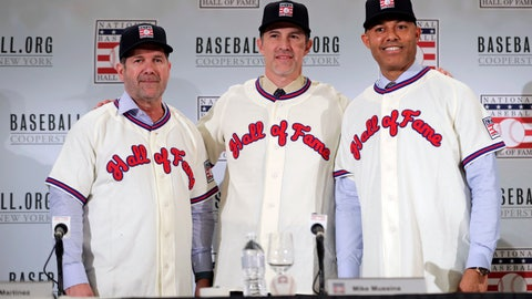 <p>               FILE - In this Jan. 23, 2019, file photo, Baseball Hall of Fame inductees Edgar Martinez, left, Mike Mussina, center, and Mariano Rivera, right, pose for photographs during news conference in New York. Baseball Hall of Fame induction ceremonies are on Sunday, July 21, 2019, in Cooperstown, N.Y. (AP Photo/Frank Franklin II)             </p>