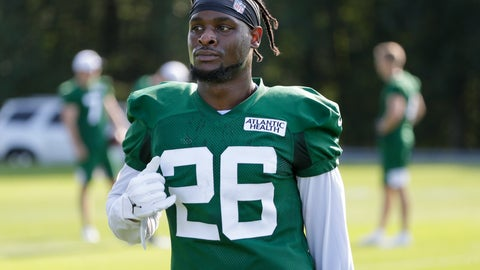 <p>               New York Jets running back Le'Veon Bell participates in a practice at the NFL football team's training camp in Florham Park, N.J., Thursday, July 25, 2019. (AP Photo/Seth Wenig)             </p>