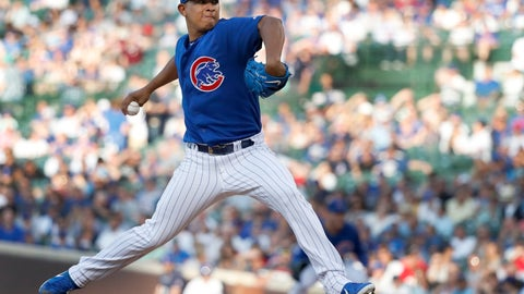 <p>               Chicago Cubs starting pitcher Adbert Alzolay delivers during the second inning of a baseball game against the Atlanta Braves, Tuesday, June 25, 2019, in Chicago. (AP Photo/Charles Rex Arbogast)             </p>