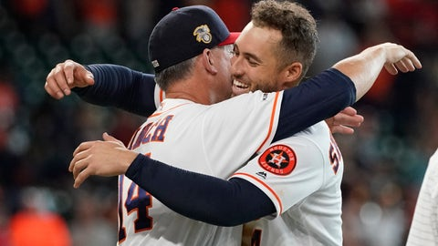 <p>               Houston Astros manager AJ Hinch (14) hugs George Springer after Springer's game-ending RBI single against the Los Angeles Angels during the 10th inning of a baseball game Sunday, July 7, 2019, in Houston. The Astros won 11-10. (AP Photo/David J. Phillip)             </p>