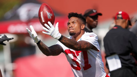 <p>               Atlanta Falcons free safety Ricardo Allen (37) tosses a ball in the air during their NFL training camp football practice Thursday, July 25, 2019, in Flowery Branch, Ga.(AP Photo/John Bazemore)             </p>