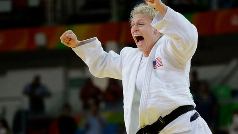 <p>               FILE - In this Thursday, Aug. 11, 2016, file photo, United States' Kayla Harrison celebrates after defeating France's Audrey Tcheumeo in the women's 78-kg judo gold medal match at the 2016 Summer Olympics in Rio de Janeiro, Brazil. Harrison improved to 5-0 in her short MMA career, Thursday, July 11, 2019, in Atlantic City, N.J., and remains in the hunt to win $1 million as PFL's lightweight champion. Harrison made Morgan Frier tap out in the first round of their fight on the PFL4 card. (AP Photo/Jae C. Hong, File)             </p>