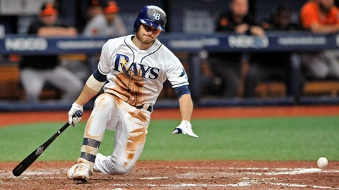 <p>               Tampa Bay Rays' Brandon Lowe falls to the dirt after hitting a foul tip off his right leg on a pitch from Baltimore Orioles starter Asher Wojciechowski during the sixth inning of a baseball game Tuesday, July 2, 2019, in St. Petersburg, Fla. (AP Photo/Steve Nesius)             </p>