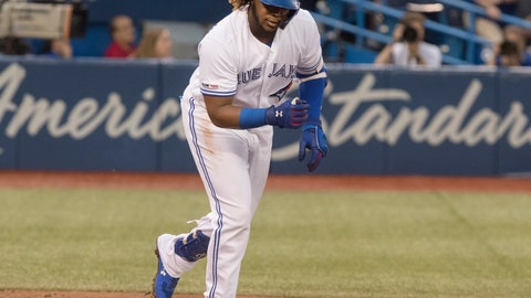<p>               Toronto Blue Jays' Vladimir Guerrero Jr. throws down his bat after flying out against the Boston Red Sox during the second inning of a baseball game Tuesday, July 2, 2019, in Toronto. (Fred Thornhill/The Canadian Press via AP)             </p>