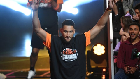 <p>               NBA player Ben Simmons, of the Philadelphia 76ers, comes out to participate in a challenge at the Kids' Choice Sports Awards on Thursday, July 11, 2019, at the Barker Hangar in Santa Monica, Calif. (Photo by Chris Pizzello/Invision/AP)             </p>