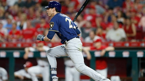 <p>               Milwaukee Brewers' Christian Yelich (22) follows through on an RBI single off Cincinnati Reds relief pitcher David Hernandez during the seventh inning of a baseball game, Monday, July 1, 2019, in Cincinnati. (AP Photo/Gary Landers)             </p>