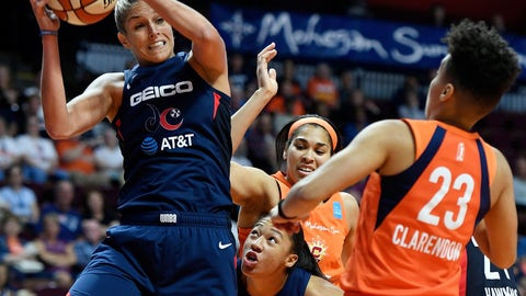 <p>               FILE - In this June 11, 2019, file photo, Washington Mystics forward Elena Delle Donne pulls down a rebound next to Connecticut Sun guard Layshia Clarendon during a WNBA basketball game in Uncasville, Conn. Thibault's squad has been using a stellar defensive effort to win five in a row and now sit atop The Associated Press WNBA power poll. The Mystics are second in the league allowing just 73.2 points a game.   (Sean D. Elliot/The Day via AP, File)             </p>
