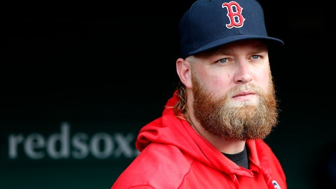 <p>               Boston Red Sox pitcher Andrew Cashner stands in the dugout before a baseball game against the Los Angeles Dodgers in Boston, Sunday, July 14, 2019. (AP Photo/Michael Dwyer)             </p>