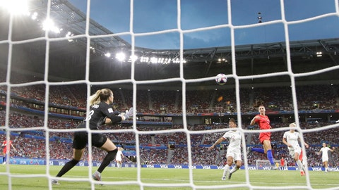 <p>               United States' Alex Morgan, right, scores her side's second goal, during the Women's World Cup semifinal soccer match between England and the United States, at the Stade de Lyon, outside Lyon, France, Tuesday, July 2, 2019. (AP Photo/Alessandra Tarantino)             </p>