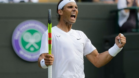 <p>               Spain's Rafael Nadal celebrates winning a men's quarterfinal match against United States' Sam Querrey on day nine of the Wimbledon Tennis Championships in London, Wednesday, July 10, 2019. (AP Photo/Ben Curtis)             </p>