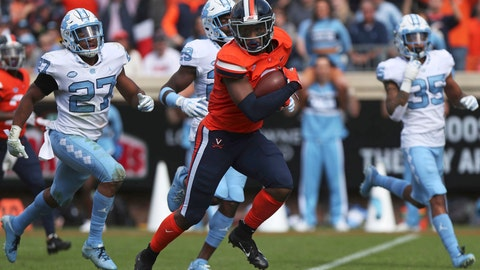 <p>               FILE - In this Oct. 27, 2018, file photo, Virginia's wide receiver Hasise Dubois (8) breaks past several North Carolina defenders for a score during the second half of an NCAA college football game in Charlottesville, Va. As the start of fall practice approaches, the Cavaliers have to identify the playmakers most likely to fill the voids left by the graduations of Olamide Zaccheaus and Jordan Ellis. Enter Hasise Dubois and Joe Reed, the top returning receivers from a year ago. (Zack Wajsgras /The Daily Progress via AP, File)             </p>