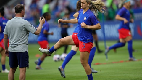 <p>               United States' Lindsey Horan warms up before the Women's World Cup semifinal soccer match between England and the United States, at the Stade de Lyon outside Lyon, France, Tuesday, July 2, 2019. (AP Photo/Francisco Seco)             </p>